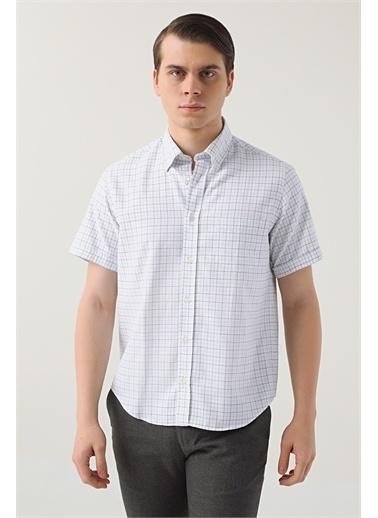 D'S Damat Ds Damat Regular Fit Beyaz Kareli Gömlek Beyaz